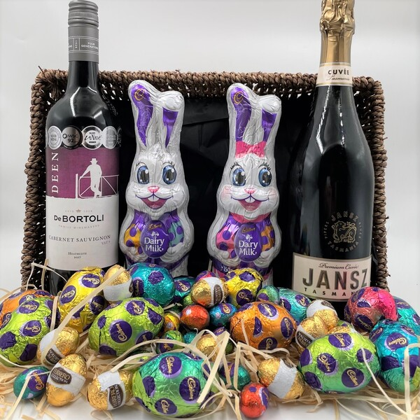 Easter gift hamper basket chocolate family fun negle Images